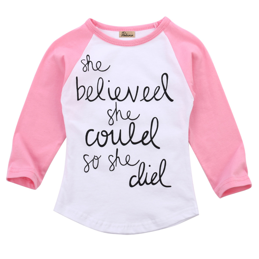 Fashion Toddler Kids Letters Printting T Shirt Baby Girls