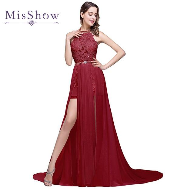 21b38ea8049d 2018 Frisado Vestido de Noite Longo Chiffon Side Slit Borgonha Sexy  Backless Formal vestido de Festa