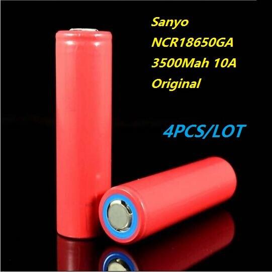 Envío gratis 4 unids 3500 mah 3.7 v li-ion 18650 akku ncr18650ga 18650ga cigarri