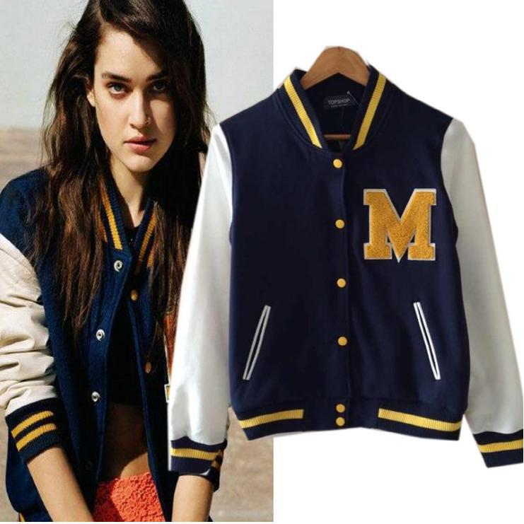 2014 Winter Fashion Women Letter Printed Baseball Bomber Jackets ...
