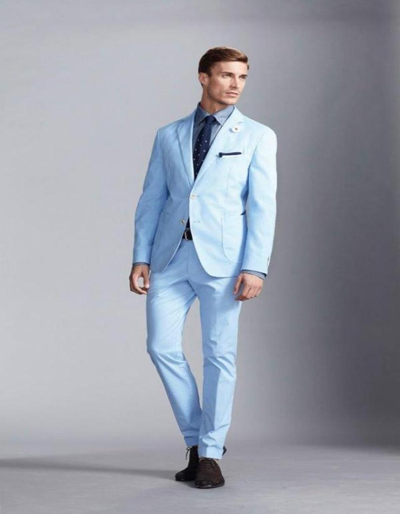 2019 Fashion Light Blue Wool Blend Men Suits Notched Lapel