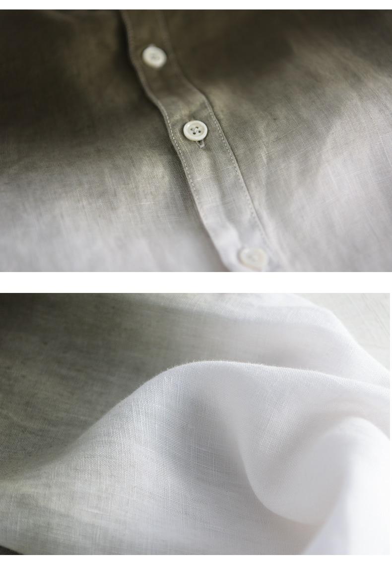 45271f483e0 2018 pure linen shirt men s long sleeve summer thin section trend of ...