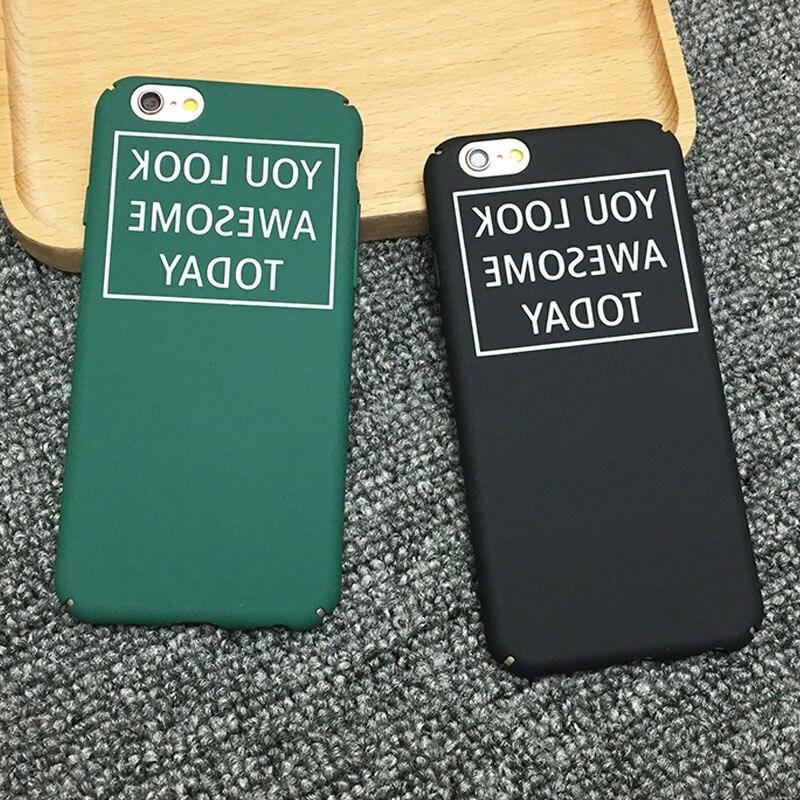 Para apple iphone 5 5s 6 6 s plus 7 7 plus mate case moda palabras 360 duro mate