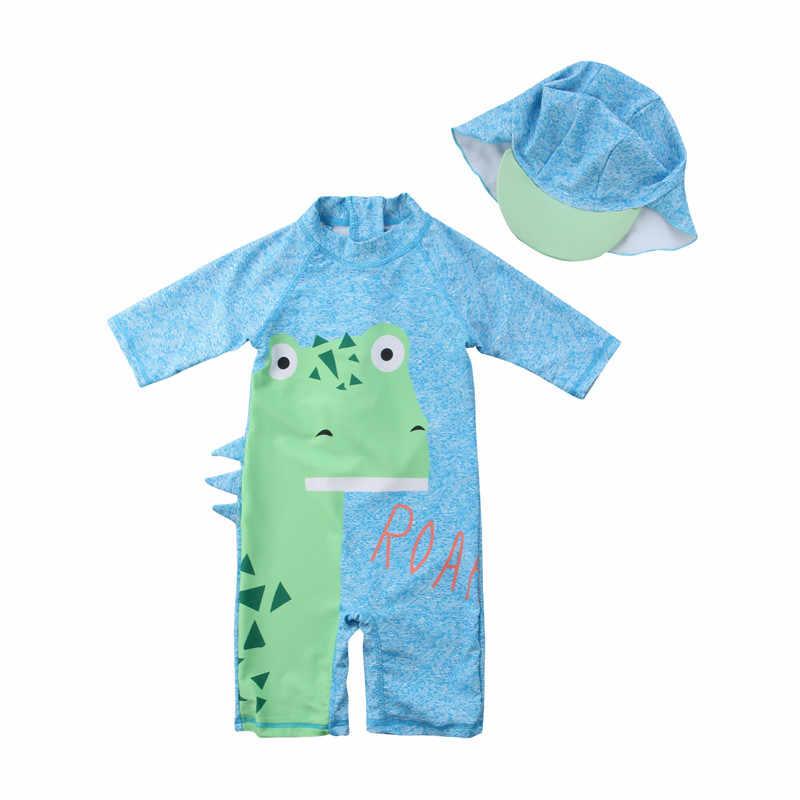 2018 новые летние детские 3D ромперы с динозаврами, синий купальник для серфинга, комбинезон, пляжная одежда, головные уборы