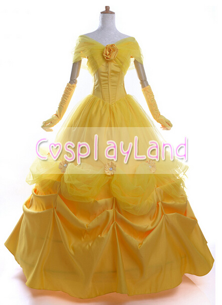 Adult Belle Costume Beauty and the Beast Cosplay Costume Princess Dress Belle Cosplay Costume Halloween Party Cosplay Costume