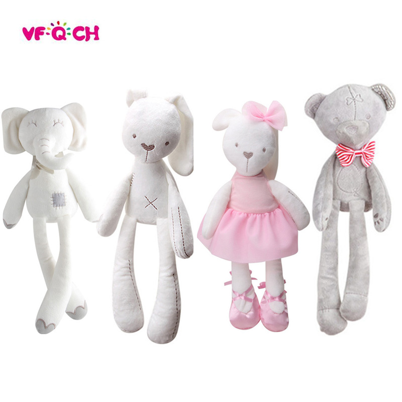 New Style Plush Stuffed Cute Appease Rabbit Bear Animal Toys Infant Baby Comfort Dolls For Children Kids Birthday Pretty Gift button