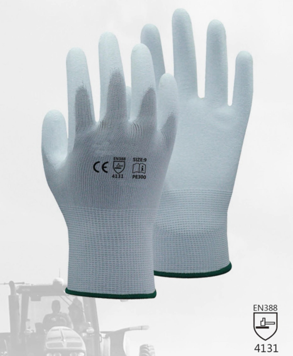 Sarung Tangan Safety ESD Anti-statis Glove White Nylon Glove Dengan PU Polyurethane Palm Dicelup Anti Static Work Glove