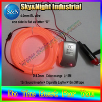 El wire lights Orange 15M cold neon+12v sound inverter+3M tape with Free shipping (ten colors are available)
