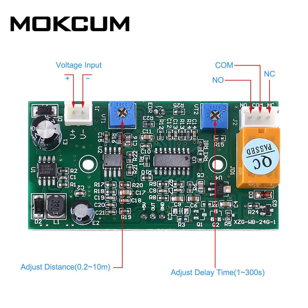 24.125GHz DC 8-25V Induction Door Module Adjustable 24GHz Microwave Radar Sensor Module Delay Time Sensing Distance