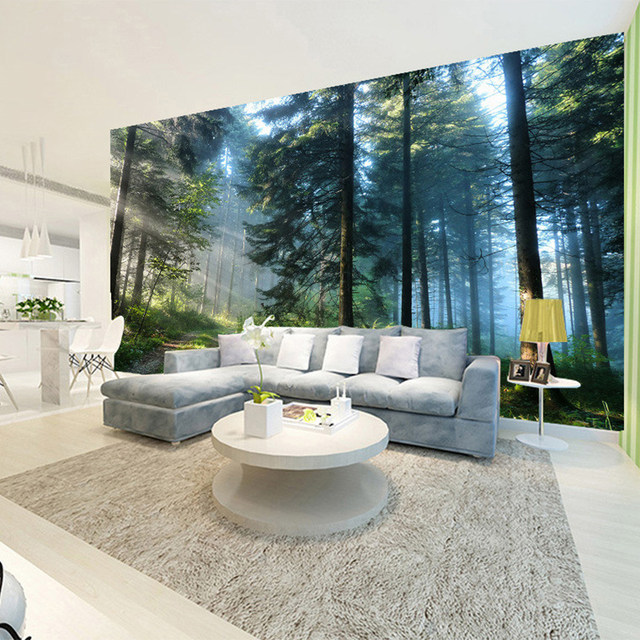 Wanddesign Wohnzimmer | Online Shop Nach 3d Sonnenschein Wald Natur Landschaft Foto Wandbild