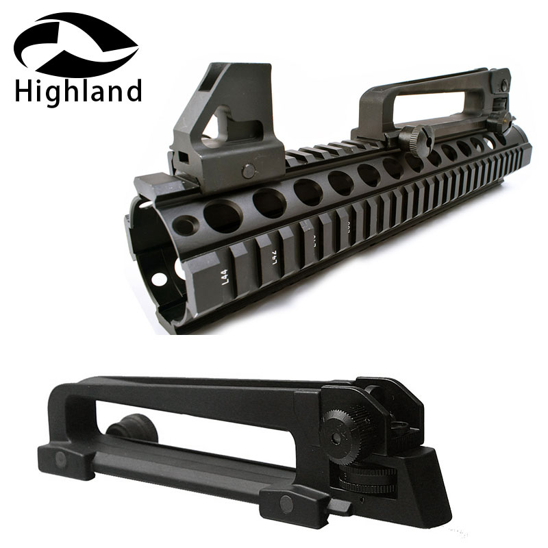 Hunting M16 AR15 High Quality Metal Front Sight RifleScopes +Detachable Carry Handle With Mechanical Rail Mount Rear Sight