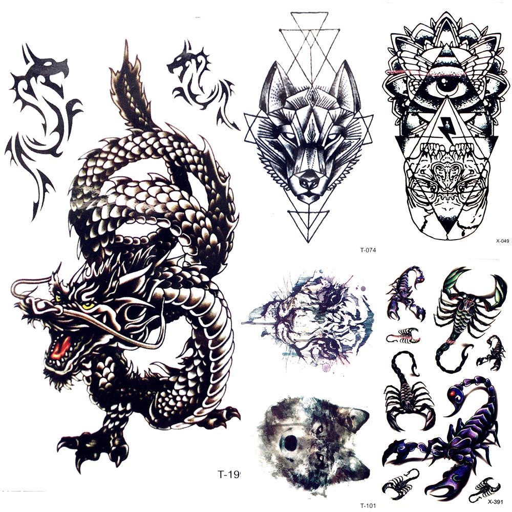 Chinese Black Dragon Temporary Tattoo Stickers Men Body Arm Art Painting Fake Tattoo Cloud Forest Tatto Tribal Boys Hands Chest