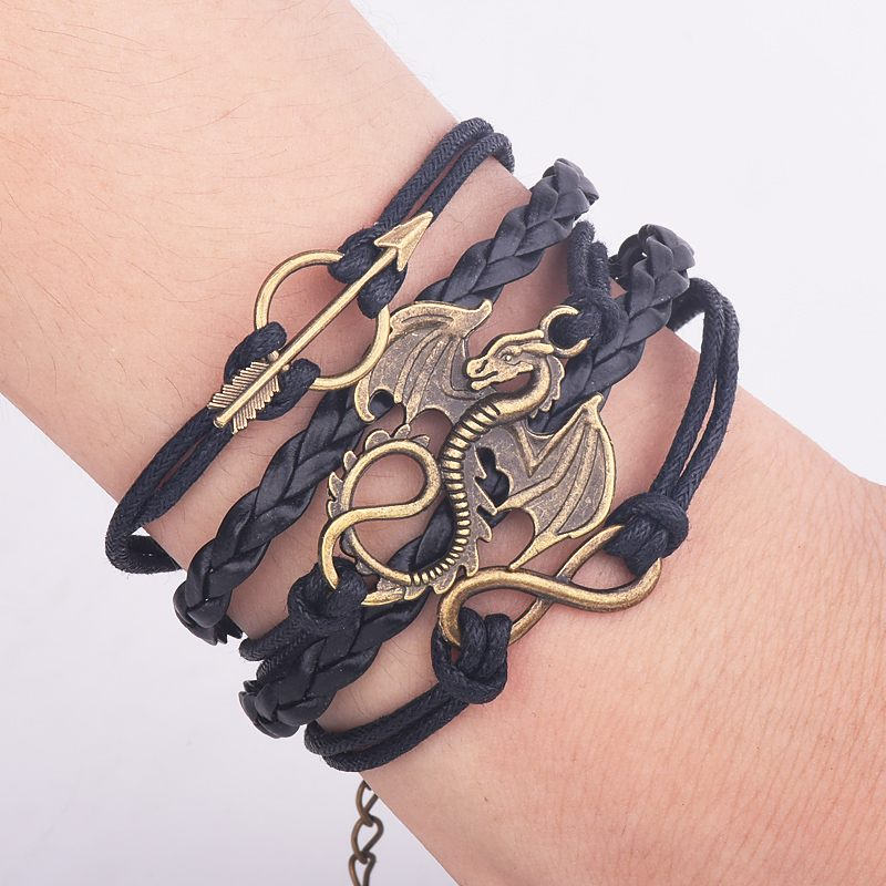 Men Leather Bracelet A Song of Ice and Fire Vintage Punk Antique Silver Dragon Bracelets Charm for Women