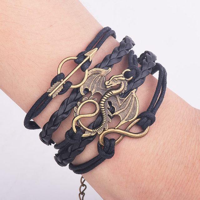 Men Leather Bracelet Vintage Punk Antique Silver Dragon Bracelets Charm for Women