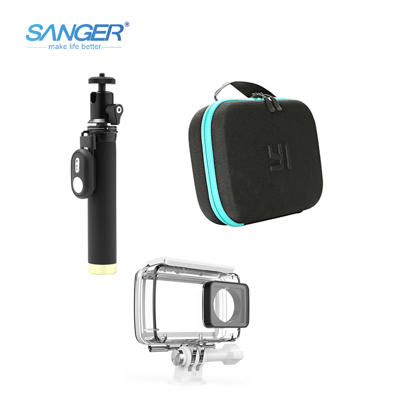 SANGER Waterproof Case Self Stick Camera Bag Bluetooth Remote Control 3in1 kit for Xiaomi Yi 4K Action Camera Accessories