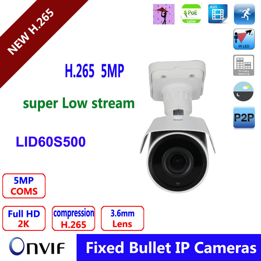 Full HD H 265 Real Time CCTV Outdoor Waterproof 5Mp IP Security Camera 40m Night Vision