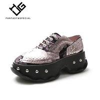 МГС Женская обувь на платформе из натуральной кожи в стиле панк Повседневная обувь с заклепками Для женщин на платформе Sapatos Mulher Plataforma женск