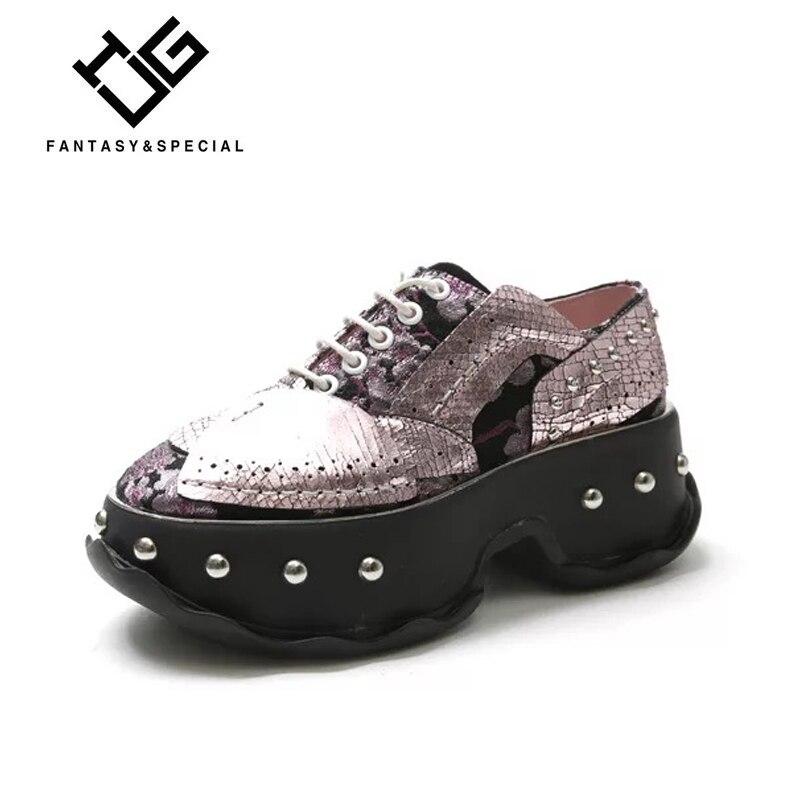 IGU plate-forme chaussures femmes en cuir véritable Punk Rivets chaussures décontractées femmes plate-forme Sapatos Mulher Plataforma femmes chaussures plates
