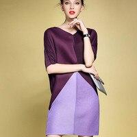Fold Material Fashion Pleated Dress Women Summer Elegant Bat Sleeves Loose Hit Color Shirt Dress Big Size