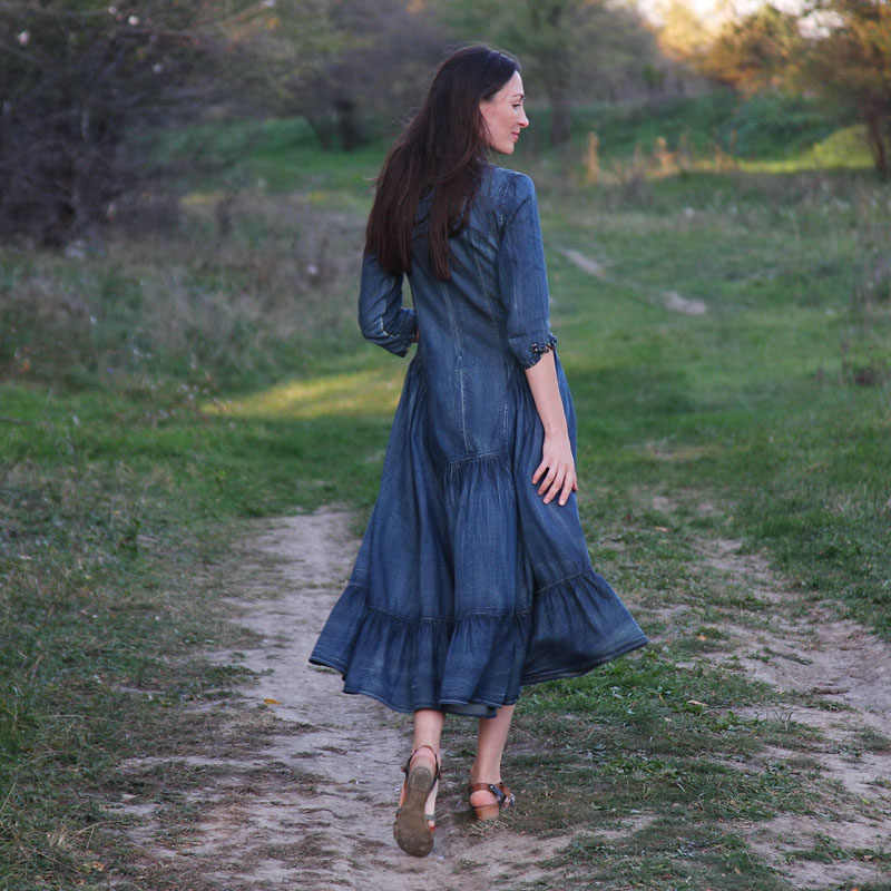 שמלת נשים 2018 Yuzi. עשוי Boho חדש ינס Vestidos שלוש רבעון שרוול אונליין כחול נשים Vestido אלגנטי בציר ג 'ינס שמלות
