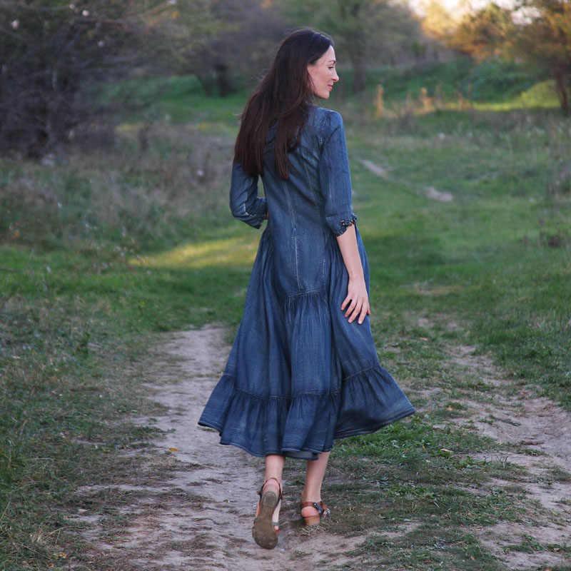 Женское платье 2018 Yuzi. мая Boho новые джинсовые платья с рукавом три четверти А-силуэта синие женские элегантные винтажные джинсовые платья