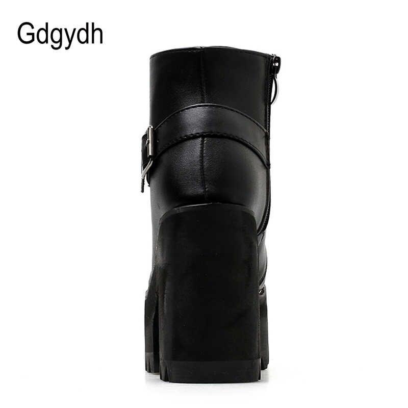 Gdgydh/весенние Черные ботильоны; женские осенние ботинки на платформе с круглым носком; женская обувь на высоком толстом каблуке со шнуровкой и пряжкой