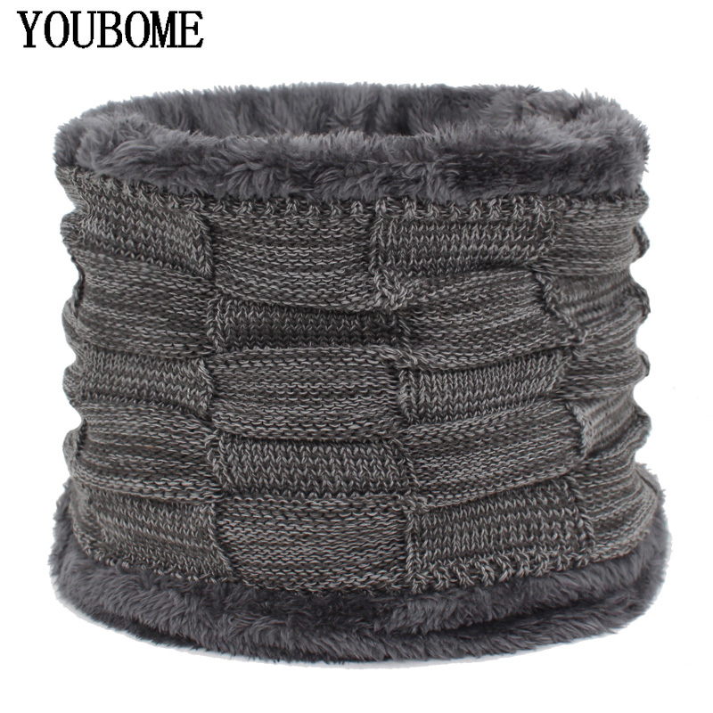 YOUBOME Fashion Men Winter Scarf Ring Knitted Men Scarves For Women O Neck  Snood Warp Faux Fur Thick Warm Male Fleece Scarves