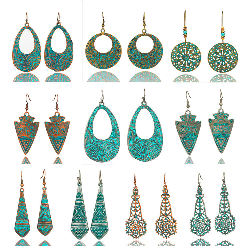 Bohemian water drop earrings statement exaggerated metal green openwork geometric round flowers tassel dangle
