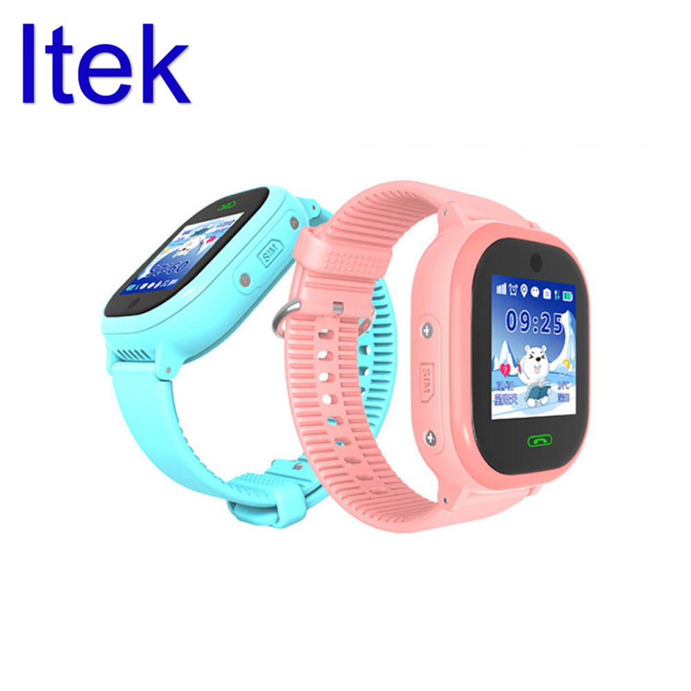 Itek IPX7 Waterproof Kid Chidren GPS SOS Location Tracker Smart Watch Touch Screen Call SIM Card with Camera for for Android iOS