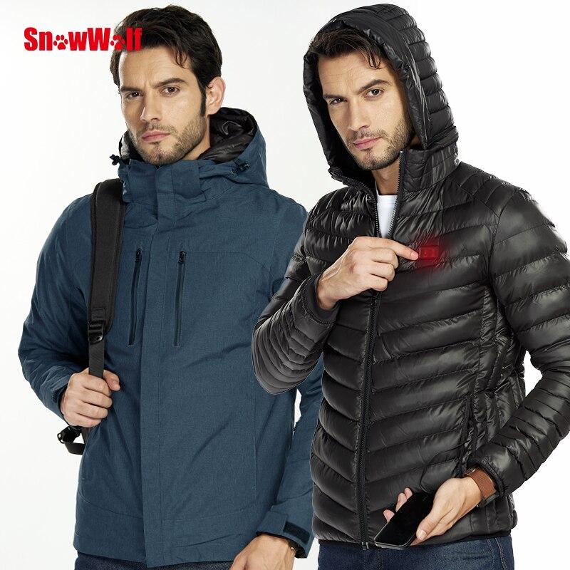 SNOWWOLF 2018 Men Winter Waterproof Softshell USB Heated Jacket Outdoor Hunting Camping Rain Jacket Men 3 In 1 Windbreaker