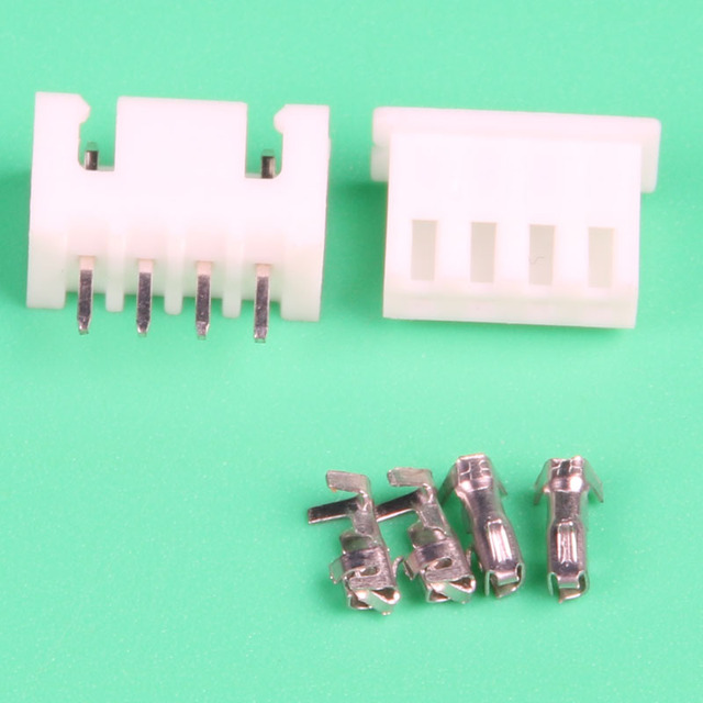 50sets 4 Pin wire Connector leads Heade 2.54mm XH2.54 4P Kit male ...