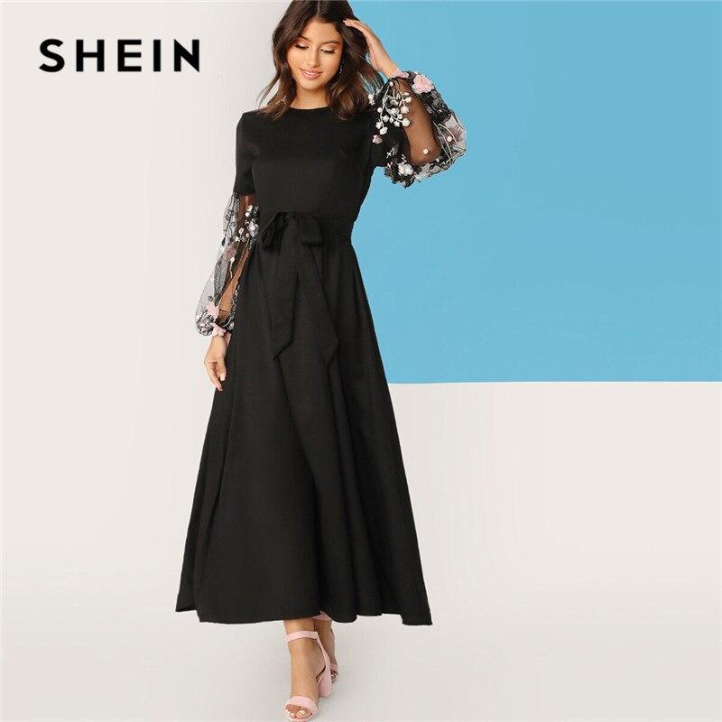 SHEIN Flower Applique Mesh Lantern Sleeve Belted Women Dress Round Neck Long Sleeve Maxi Dress High Waist Elegant Dress