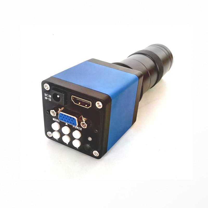 Blue 13MP HDMI VGA Industrial Digital microscope camera +8X-130X C-Mount Zoom Lens for soldering bga pcb smart phone repair
