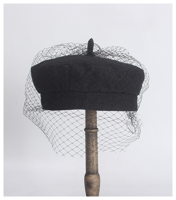Black Beret With Mesh Net...