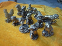 The Zodiac small animals, set of 12 copper Statue/ Sculpture,with mark,best collection&adornment,free shipping