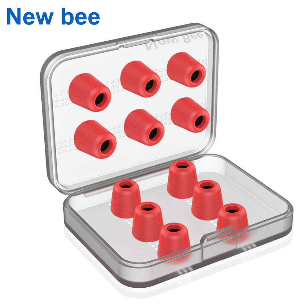 New Bee 6 Pairs Replacement Earphone Tips Noise Isolation Red Memory Foam Headset Pads Earpiece Earbuds for In Ear Earphone new bee nb 6 foldable bluetooth headset red