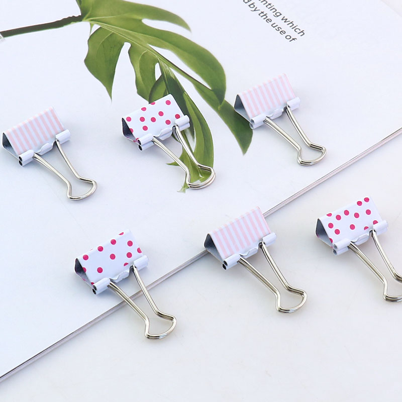 TUTU 15pcs/box 25mm Dot Cute Kawaii Metal Holder Paper Clips Office Accessories Clip Binder Paperclip Clamps H0186