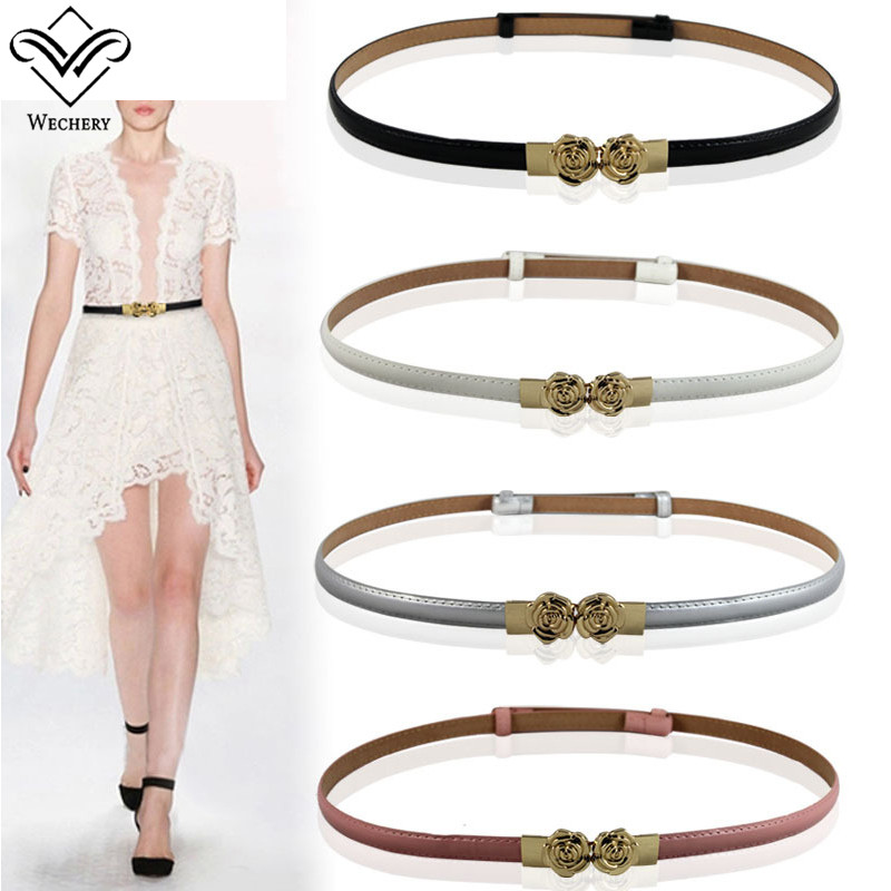 Wechery 2018 New Fashion Women's Belt Flower Slimming Thin Belts Solid Waistband for Ladies Dress Clothing Floral Diamond Strap