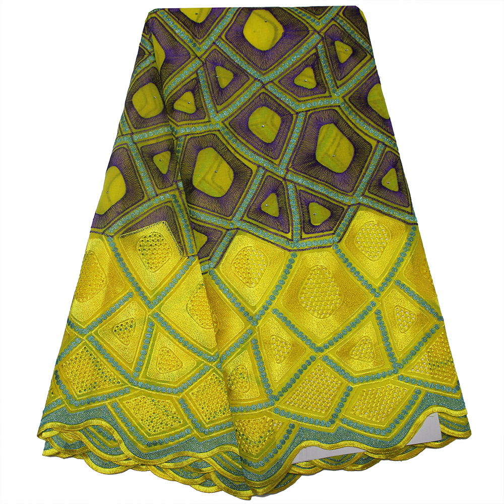 African Yellow Swiss Voile Lace High Quality For Wedding Latest Embroidery Cotton Fabric With Stones African
