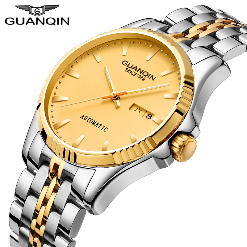 GUANQIN Mens Watches Top Brand Luxury Automatic Mechanical Watch Men Full Steel Business Waterproof Fashion Sport Watches цена