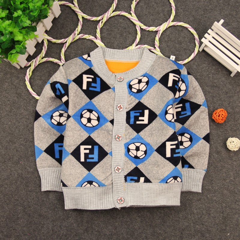 Winter Warm Baby Boys Coats Kids Cartoon Car Plane Pattern Sweaters Toddler Crew Neck Thicken Outerwear With Buttons
