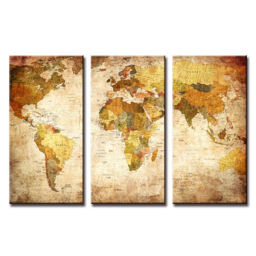 Big 3 piece Wall Art World Map oil Painting Decorative Panels Canvas ...