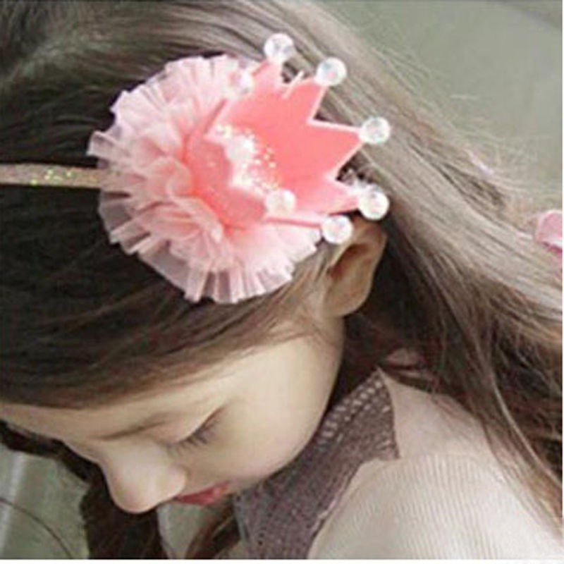 2017 Fashion Girls Kids Headband Lovely Lace Princess Imperial Crown Hairband For Bling Head Dress Turban Hair Accessories metting joura vintage bohemian green mixed color flower satin cross ethnic fabric elastic turban headband hair accessories