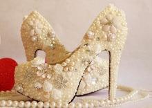 Handmade formal dress shoes flower pearl wedding shoes crystal women's 14cm high-heel platform shoes banquet single dress shoes