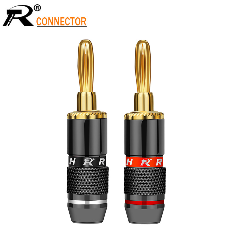 2Pcs/1Pair R Connector Non-Magneti Banana Plugs Audio Speaker Plug Binding Post Terminal Banana Connectors High Quality