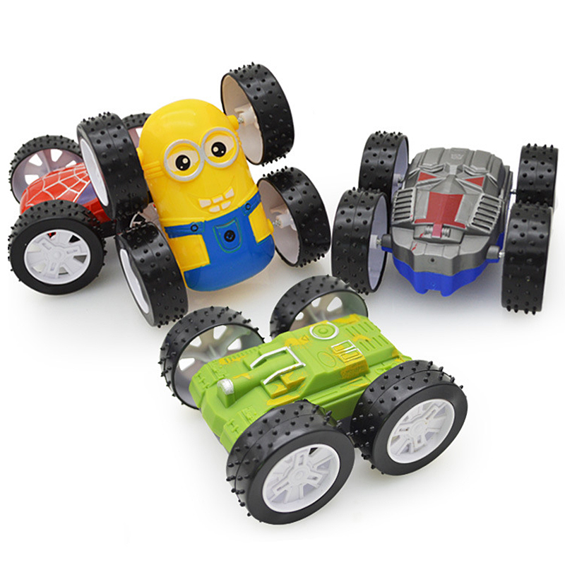 Tibbers 1pcs New Inertia Tumbling Dump Truck Tank Vehicles ABS Plastic Model Cars 2 Sides Birthday New Year Gift Toys For Boys