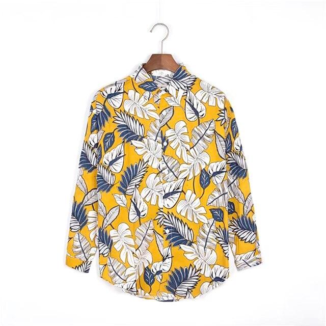 de34e38deb8 Flower Hawaiian Shirt Men Long Sleeve Hip Hop Cool Printed Shirts Men  Casual Slim Fit Mens Floral Print Shirt Blouse Dress 6c021