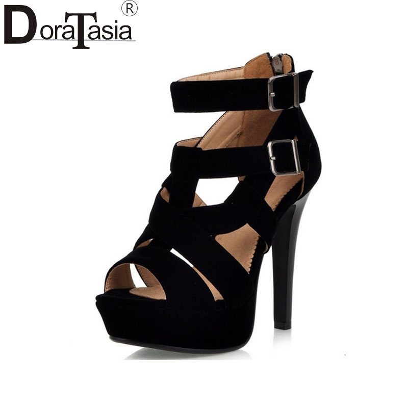 DoraTasia New Brand Design Women Gladiator Sandals Sexy High Heels Summer Party Wedding Shoes Black Red Platform Sandals phyanic 2017 gladiator sandals gold silver shoes woman summer platform wedges glitters creepers casual women shoes phy3323
