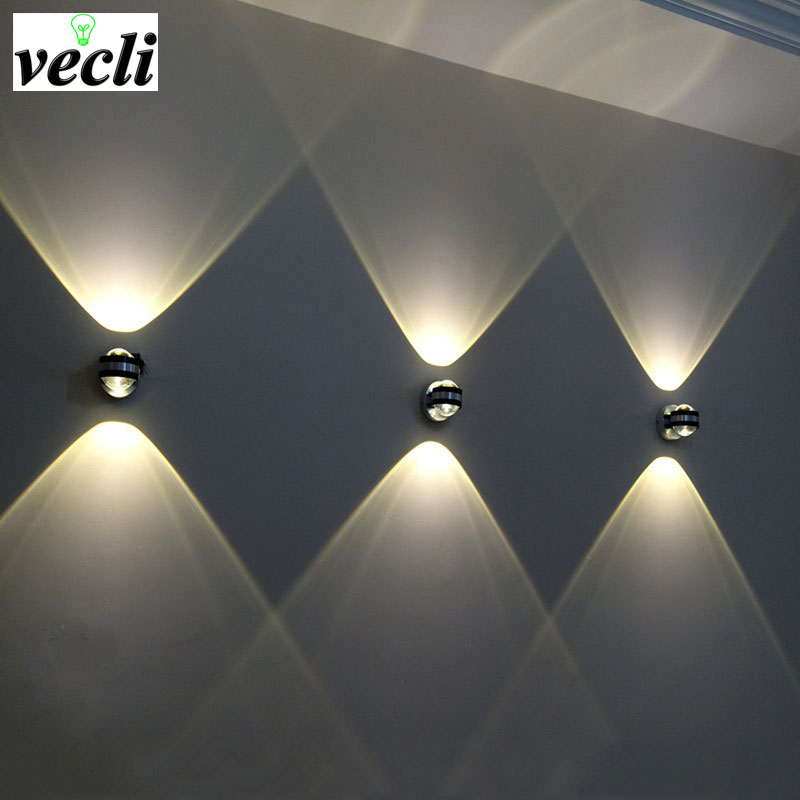 Modern LED Indoor Up Down Lighting Wall Lamp Living Room Bedroom Bedside Sconce Lamp Hotel Aisle Lamps 2w/6w Home Decoration Bra