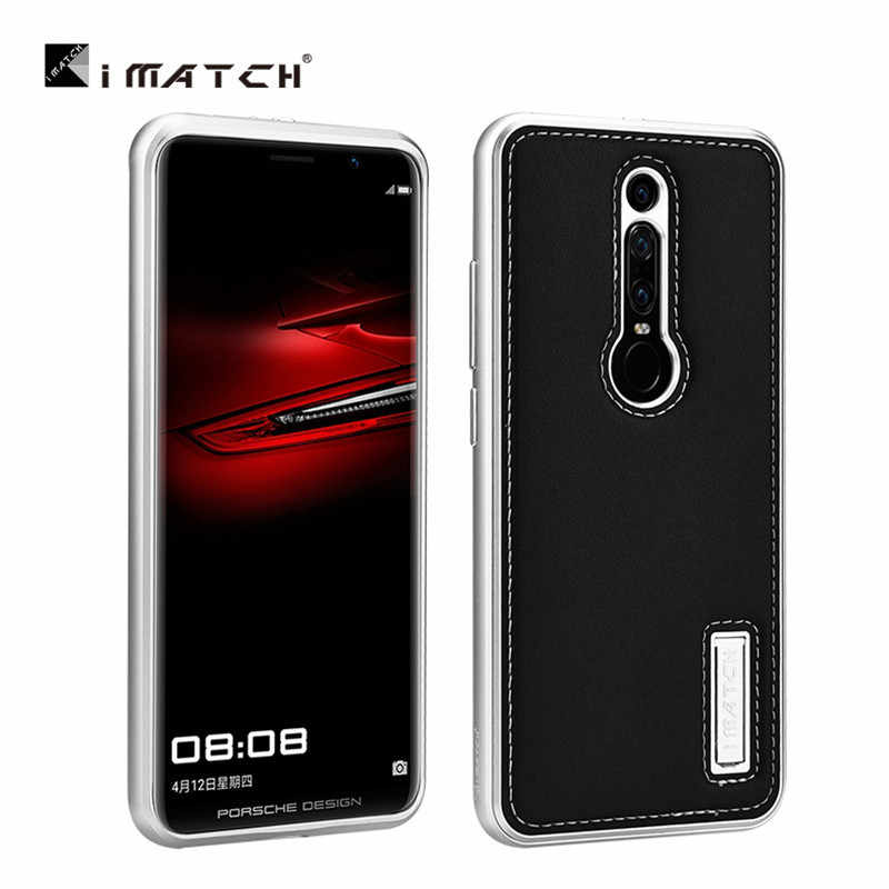 Original iMatch Genuine Leather + Aluminum Metal Bumper Case Cover For Huawei Mate RS Porsche Design Luxury Hard Shockproof Case